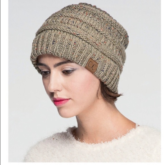 cd48e595574 C.C. Confetti Beanie Cable Knit Oatmeal Hat!